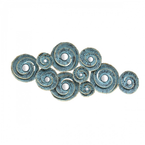 Decorative Waves Metal Wall Decor - Distressed Teal