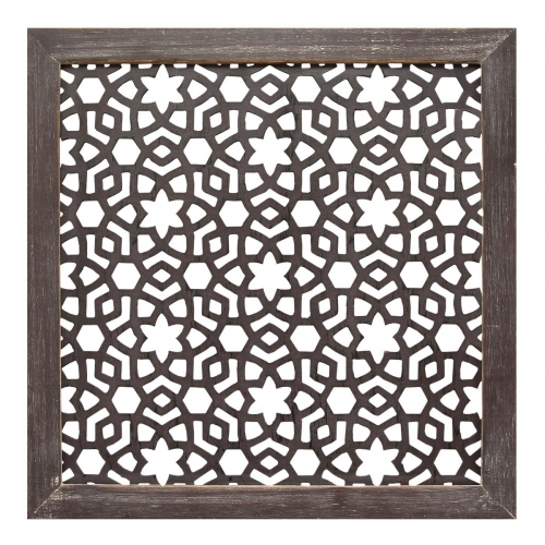Framed Laser-Cut Wall Decor (1pc) - Distressed Espresso