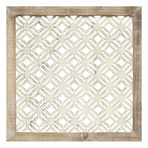 Framed Laser-Cut Wall Decor (1pc) - Distressed White