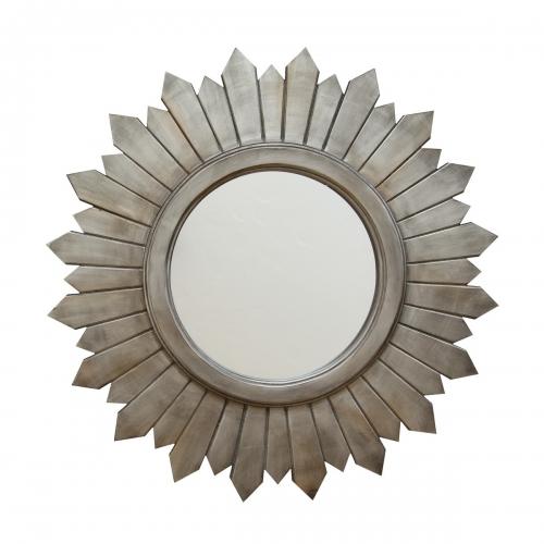 Madilyn Wood Mirror - Silver