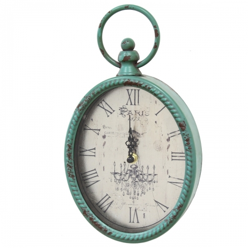 Antique Oval Clock - Teal
