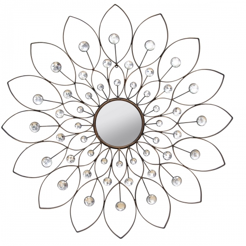 Decorative Flower Mirror - Black