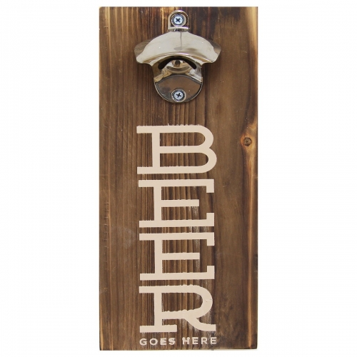 Beer Bottle Opener Wall Decor - Dark Natural Wood