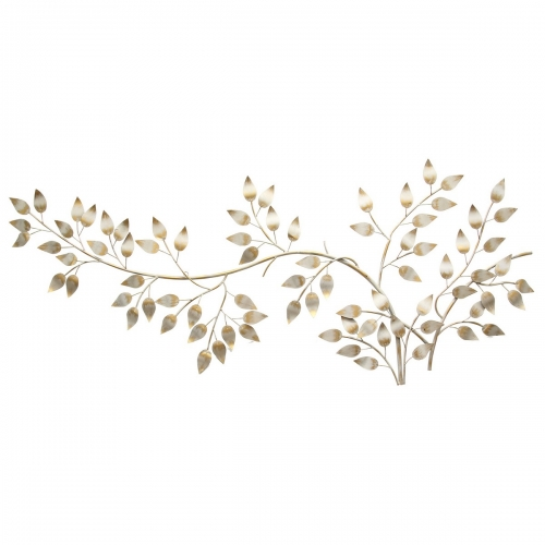 Brushed Gold Flowing Leaves Wall Decor - Metallic Gold/White
