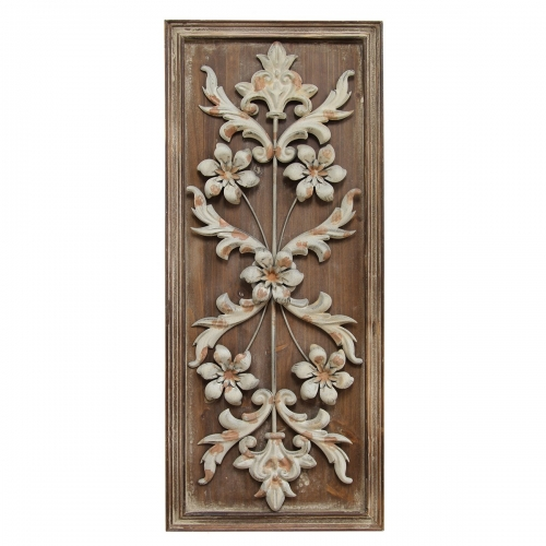 Vintage Panel Wall Decor - Natural Wood /White