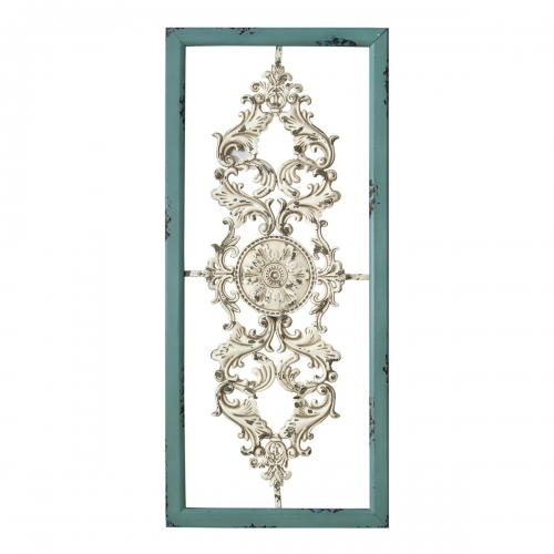 Scroll Panel Wall Decor - Teal/White