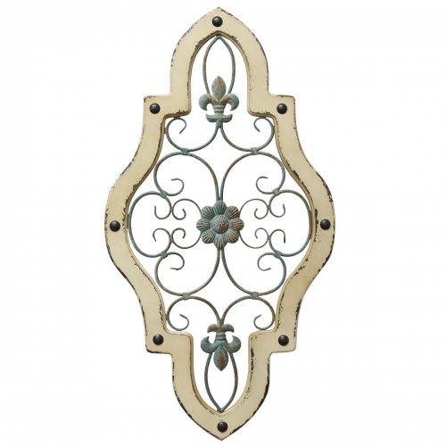 Ornate Panel Wall Decor - Teal/White