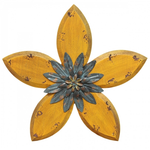 Antique Flower Wall Decor - Yellow/Teal
