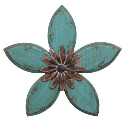 Antique Flower Wall Decor - Teal/Red