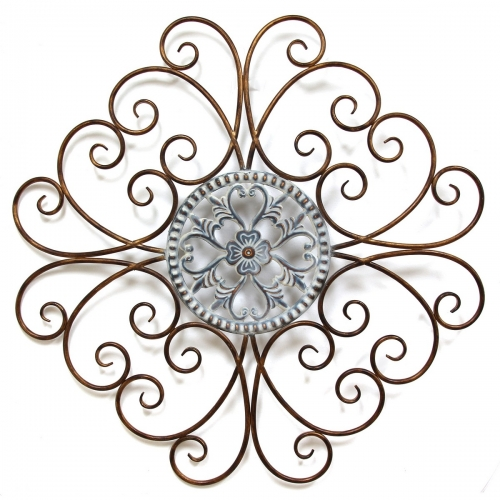 Scroll Medallion Wall Decor - Bronze/Blue