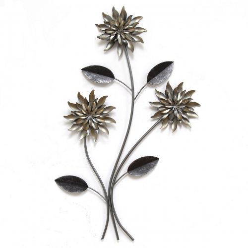 3 Stem Flowers Wall Decor - Silver