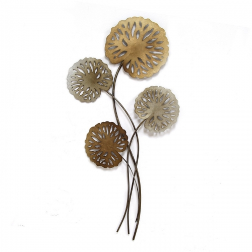 Water Lilies Wall Decor - Multi Metallic