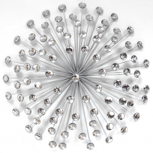 24 Silver Acrylic Burst Wall Decor - Silver