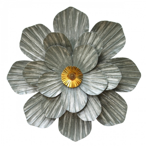 Galvanized Flower Wall Decor - Galvanized and Gold