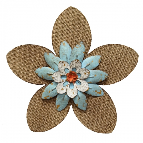 Burlap Flower Wall Decor - Light Blue