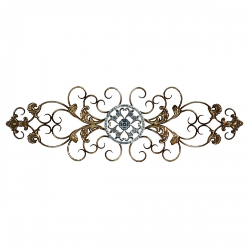 Traditional Scroll Wall Decor - Champagne and Distressed Blue