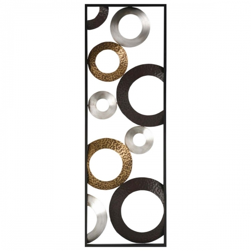 Metallic Geometric Panel Wall Decor - Multi-Metallic