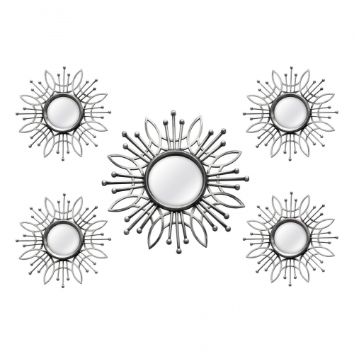 5 Piece Silver Burst Wall Mirror - Silver