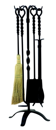 5 Pc Twist Black Wrought Iron Fireset-Uniflame
