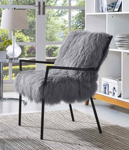 Lena Sheepskin Chair - Grey/Black