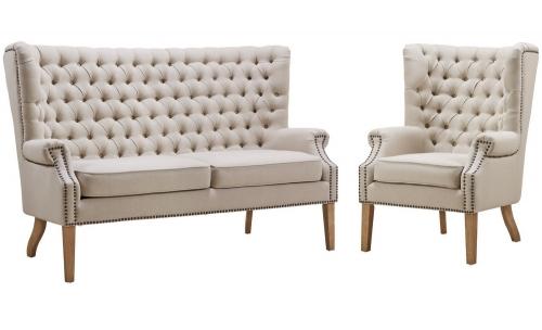 Abe Beige Linen Living Room Set