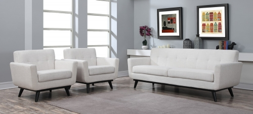 James Beige Linen Living Room Set