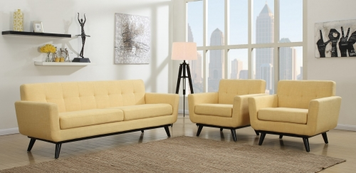 James Mustard Yellow Living Room Set