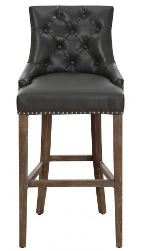Uptown Grey Leather Counter Stool