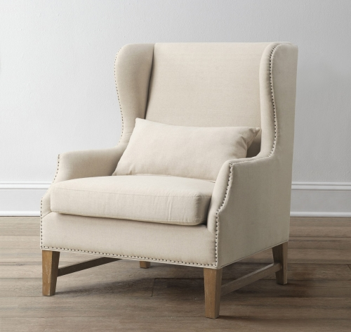 Devon Beige Linen Wing Chair