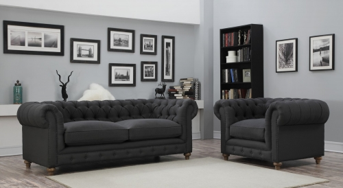 Oxford Grey Linen Living Room Set