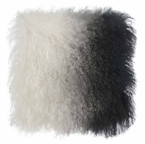 Tibetan Sheep Pillow - White/Black