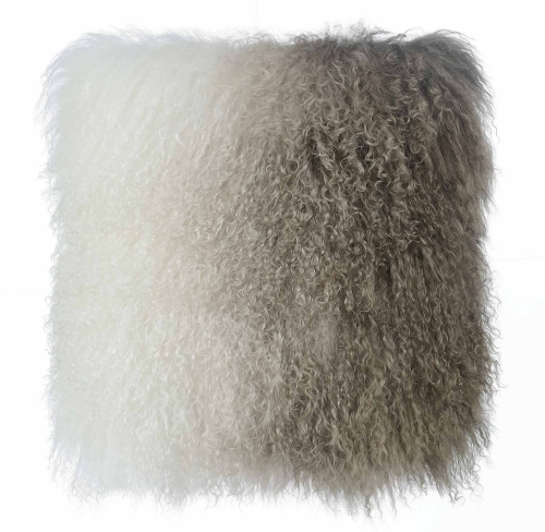 Tibetan Sheep Pillow - White/Brown