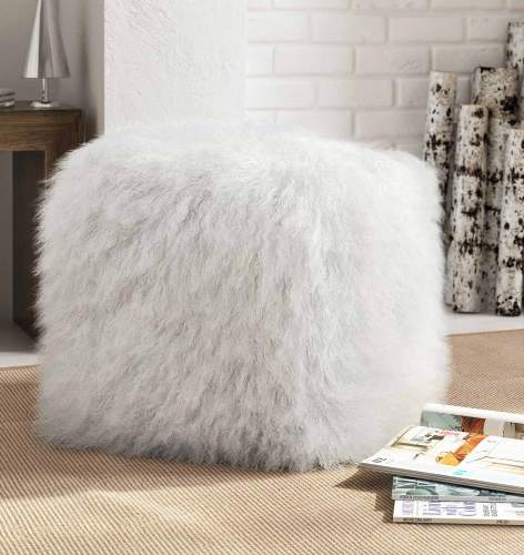 TOV Furniture Tibetan Sheep Pouf - White