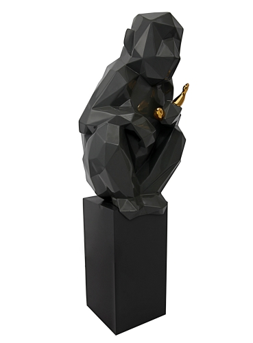 Monkey with Banana Large Sculpture - Grey/Gold