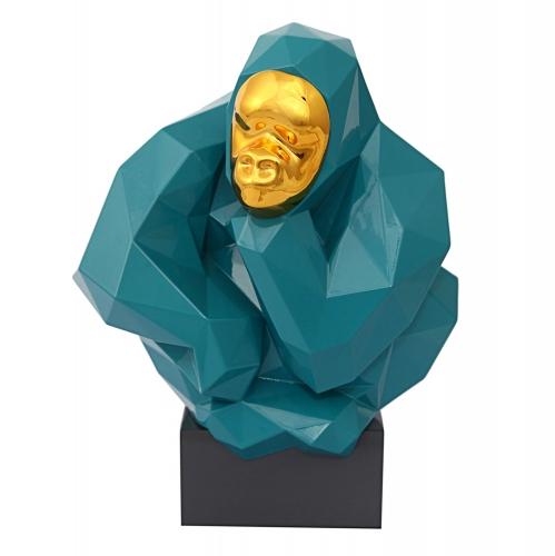 Pondering Ape Large Sculpture - Green/Gold
