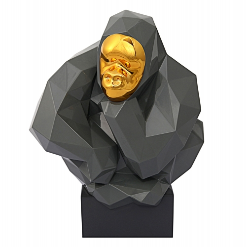 Pondering Ape Sculpture - Grey/Gold