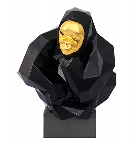Pondering Ape Sculpture - Black/Gold