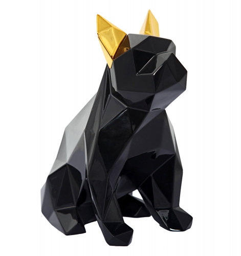 Mans Best Friend Sculpture - Black/Gold