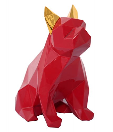 Mans Best Friend Sculpture - Red/Gold