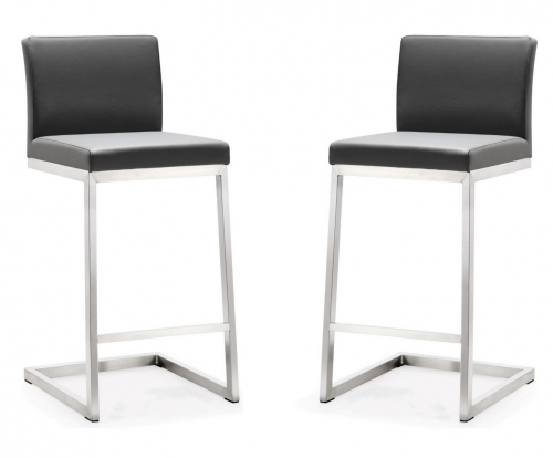 TOV Furniture Parma Grey Stainless Steel Counter Stool - Set of 2