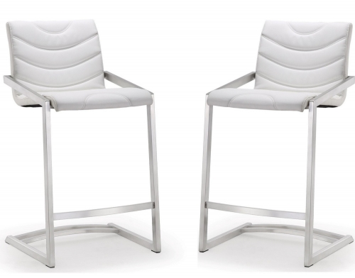 Rio White Stainless Steel Counter Stool - Set of 2