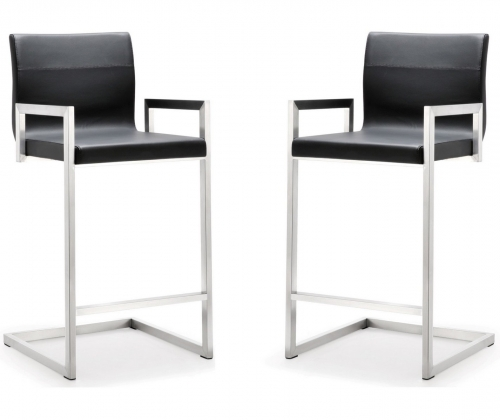 Milano Black Stainless Steel Counter Stool - Set of 2