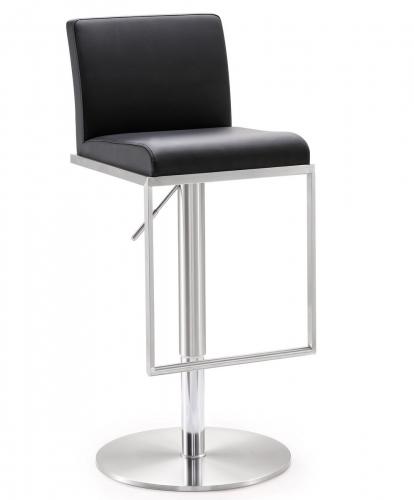 TOV Furniture Amalfi Black Stainless Steel Adjustable Barstool