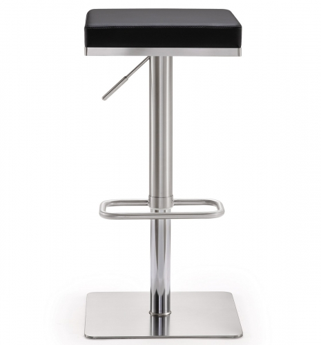 Bari Black Stainless Steel Adjustable Barstool