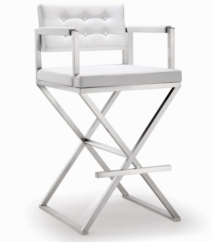 TOV Furniture Director White Stainless Steel Barstool