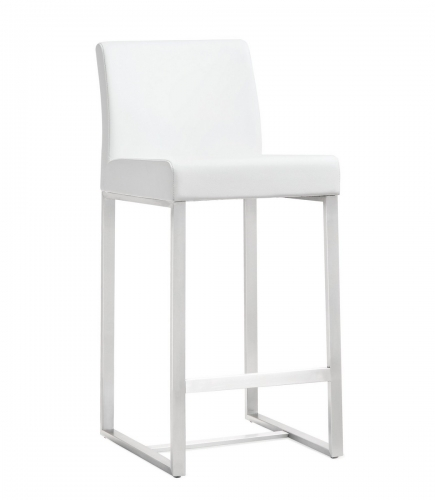 TOV Furniture Denmark White Stainless Steel Counter Stool (Set of 2)