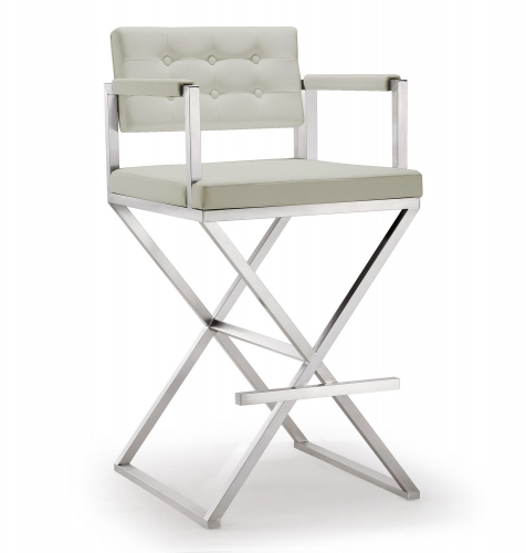 Director Steel Barstool - Light Grey