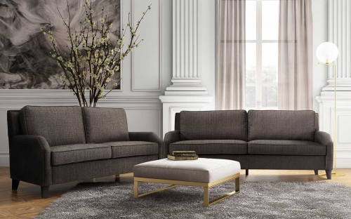 Hartford Grey Linen Living Room Set - Grey