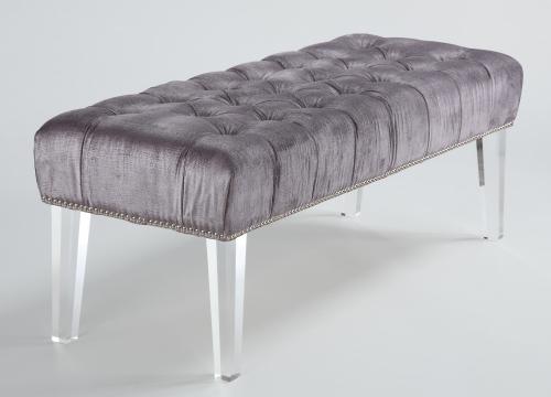 Stella Grey Velvet Lucite Bench