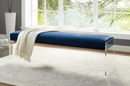 Envy Velvet/Acrylic Bench - Blue